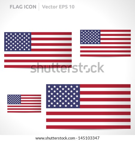 United states flag template | vector symbol design | color red white and blue  | icon set - stock vector