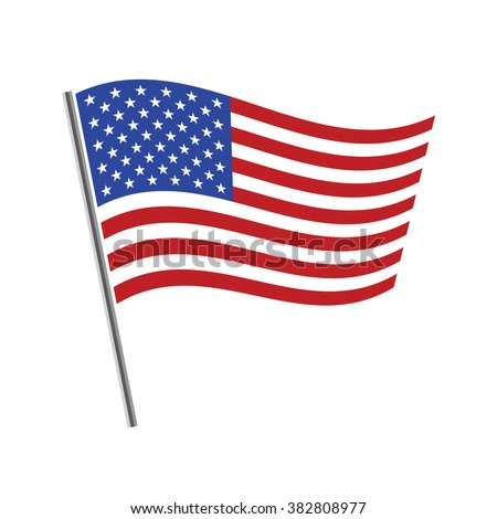 United States flag waving vector illustration - stock vector