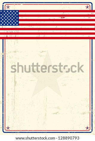 United states grunge poster. A poster with a large scratched frame and a grunge us flag for your publicity. - stock vector