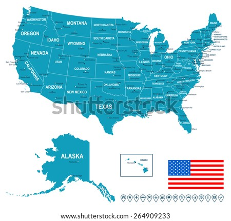 United States Map - stock vector