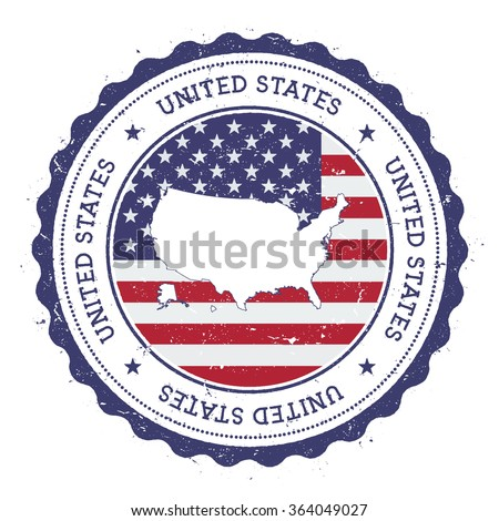 United States map and flag in vintage rubber stamp of country colours. Grungy travel stamp with map and flag of United States, vector illustration - stock vector