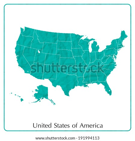 United States map on paper texture - stock vector