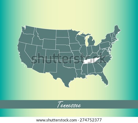 United States map outlines with highlighted State of Tennessee in an abstract design for web page template or construction, vector map of US on an old paper background - stock vector