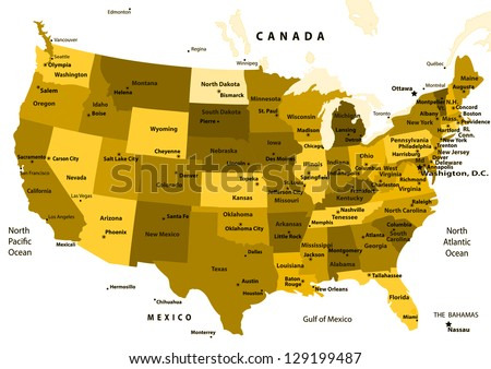 United States map vector - ocher States and capital cities.Vector illustration - stock vector
