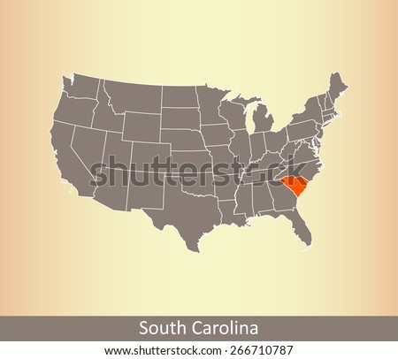 United states map with highlighted state of South Carolina, on an old paper background - stock vector
