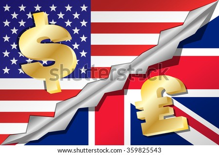 United States of America and Great Britain (United Kingdom) mixed flag with dolar and pound symbols. Vector illustration EPS 10. - stock vector