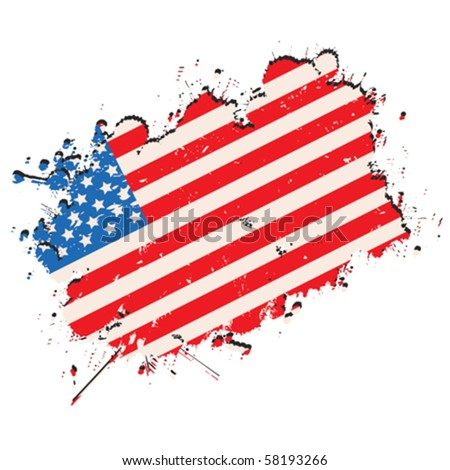 United States of America flag in grunge style - stock vector