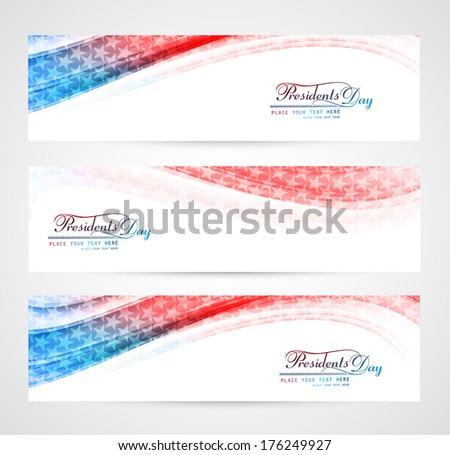 United States of America in President Day for beautiful wave header set vector illustration - stock vector