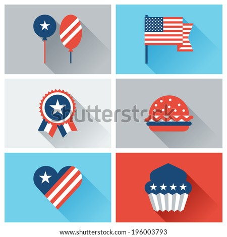 United States of America Independence Day icon set. - stock vector