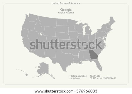 United States of America isolated map and Georgia state territory. vector USA political map. geographic banner design - stock vector