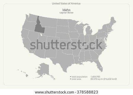 United States of America isolated map and Idaho State territory. vector USA political map. geographic background design - stock vector
