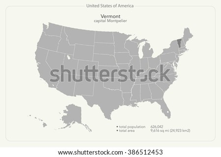 United States of America isolated map and Vermont State territory. vector USA political map. geographic banner template - stock vector