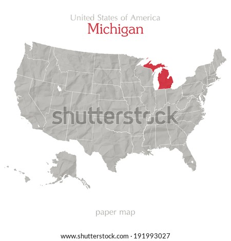 United States of America map and Michigan territory isolated on white background - stock vector