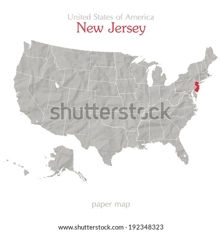 United States of America map and New Jersey state territory on shabby paper texture - stock vector