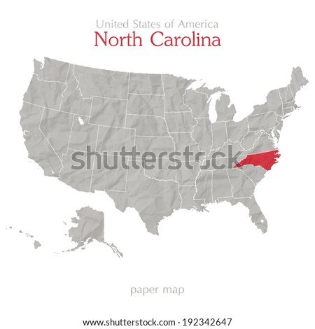 United States of America map and North Carolina state territory isolated on white background - stock vector