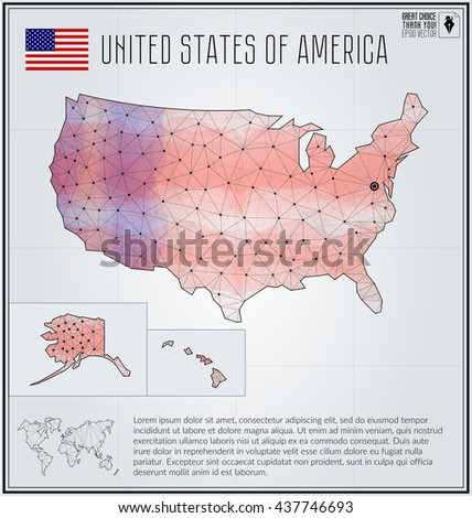United States of America map in geometric polygonal style. Polygonal abstract world map. Vector illustration. USA flag. Washington pointer - stock vector