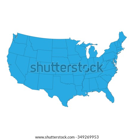 United States of America Map isolated on white - stock vector