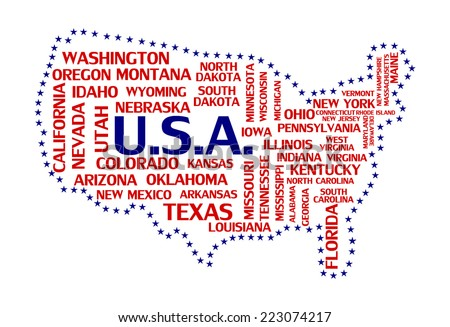 United states of america map tag cloud concept print. USA countries word collage text pattern, flag colors - blue and red color vector art image illustration isolated on white background - stock vector