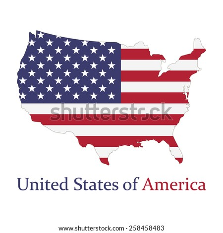 United states of America. Map with flag of America. Elements of this image furnished by NASA. Vector.  - stock vector