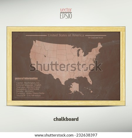 United States of America map with general information over school chalkboard. vector background  - stock vector