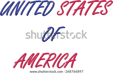 United States of America name in a 3D abstract background, three dimensional USA name colored with the colors of American flag, blue and red - stock vector