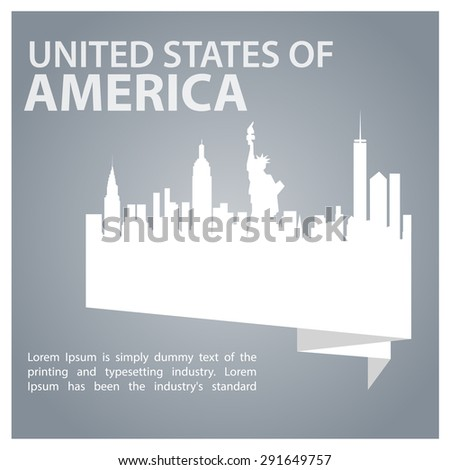 United States of America origami banner Statue of Liberty - New York city silhouette - 4th of july USA Independence day poster - Gray Abstract background - stock vector