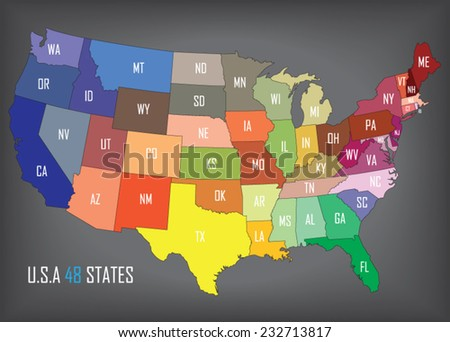 United States of America. States can be modified individually. - stock vector