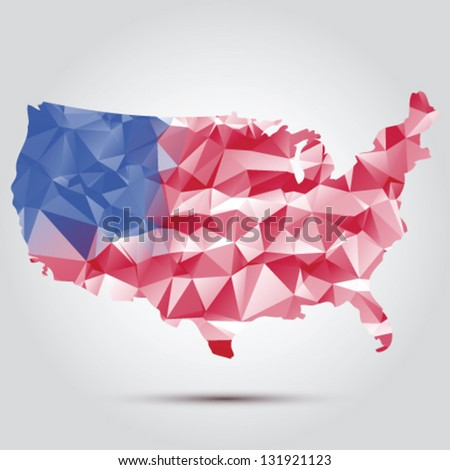 United states vector map with the flag inside - stock vector