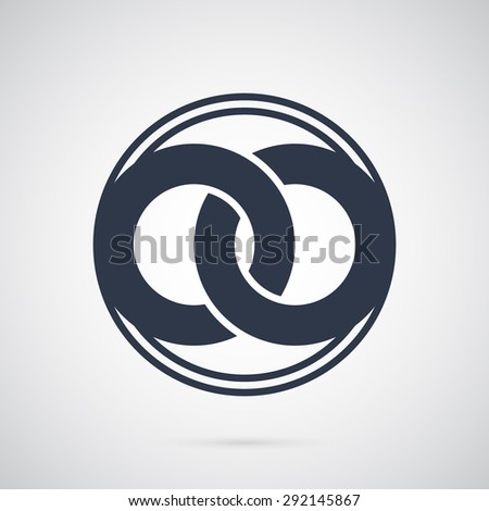 United two abstract rings to create a symbol of infinity, logo template. To marriage agencies and business companies. Creative symbol for company identity, advertising, poster, banner, web and flyer. - stock vector