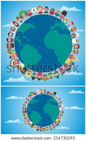 Unity Backgrounds: Cartoon people in national costumes from around the world holding hands as symbol of unity. Illustration is in 2 versions.  - stock vector