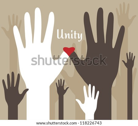 Unity Hands Abstract - stock vector