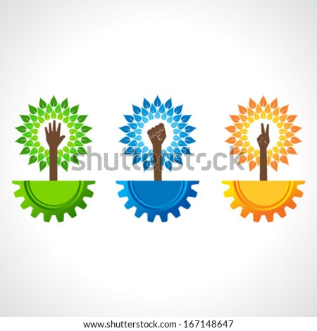 Unity ,victory and helping hand make tree on gear- vector illustration - stock vector