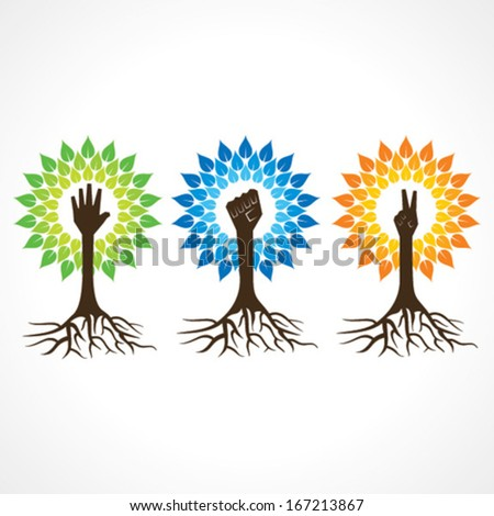 Unity,victory and helping hand make tree - vector illustration - stock vector