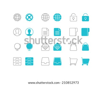 Universal Basic set. Trendy thin icons for web and mobile. Line and full versions. Normal and enable state - stock vector