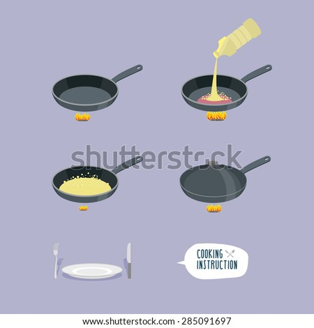Universal cooking instruction in a frying pan. Infographics steps roast cooking meal. Heat frying pan, pour oil. Boiling oil. Close the lid. Bon appetit. Cutlery: plate, knife and fork. Vector - stock vector