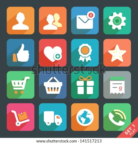 Universal Flat icon set for Web and Mobile App. Profile, Favorites, Shopping, Service. - stock vector
