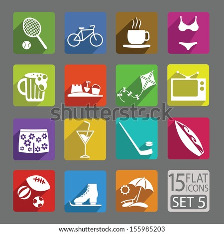Universal flat icons for web and mobile applications. Free time. Set 5 - stock vector