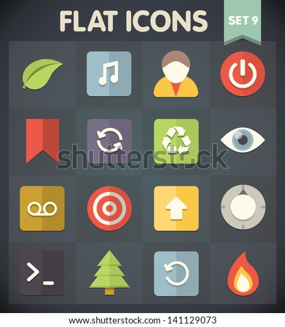 Universal Flat Icons for Web and Mobile Applications Set 9 - stock vector