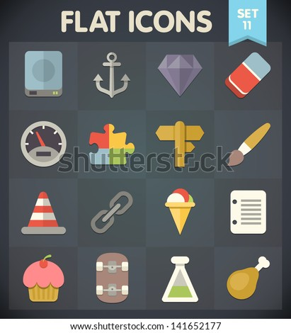 Universal Flat Icons for Web and Mobile Applications Set 11 - stock vector