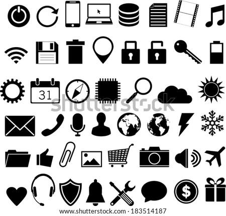 universal icon set - stock vector