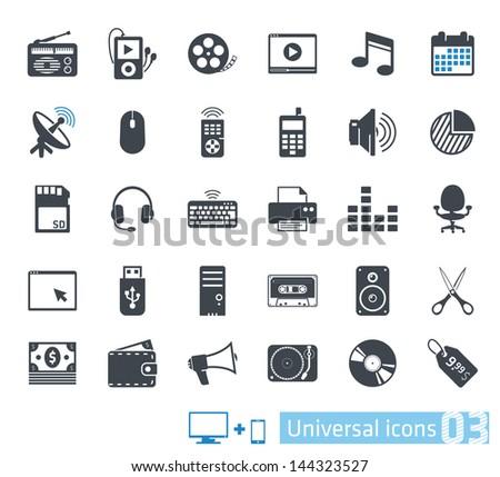 Universal icons set 03 - stock vector
