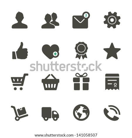 Universal icons set. Profile, Favorites, Shopping, Service. Rounded Set 1. - stock vector