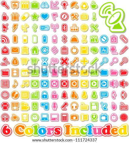 Universal Sticker Icons with shadow -It includes 6 color versions for each icon in different layers - stock vector