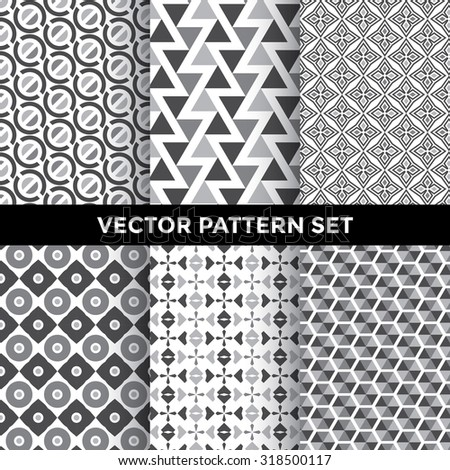 Universal Vector Pattern Set - Collection of Six Greyscale Geometric Pattern Designs on White Background - stock vector