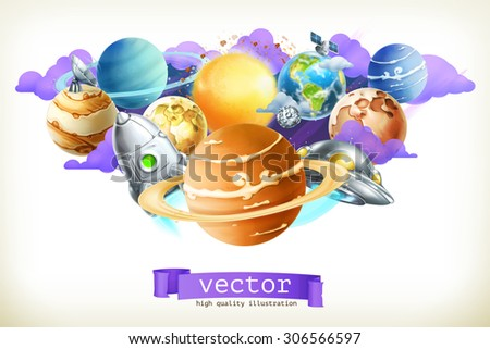 Universe, vector illustration isolated on white - stock vector