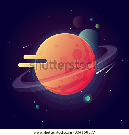 Universe with bright colorful planets and speeding comets. Outer space vector illustration in modern contemporary design - stock vector