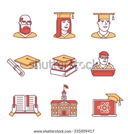 University and academic education signs set. Thin line art icons. Flat style illustrations isolated on white. - stock vector
