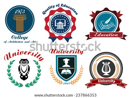 University and college emblems or badges set in retro style with owl, books, feather, graduation cap ordered in shield and circle frames with ribbons, stars and laurel wreaths - stock vector
