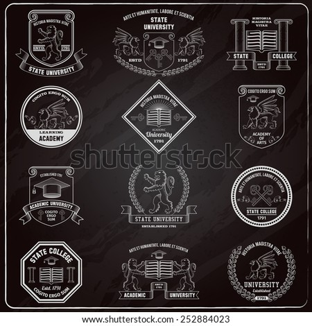 University and college heraldic emblems and labels chalkboard set isolated vector illustration - stock vector