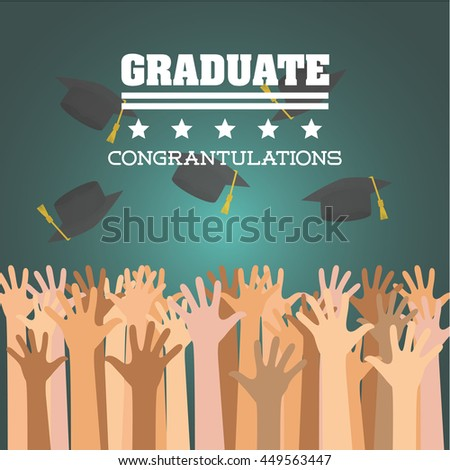 University and graduate concept represented by graduation cap and hand icon. Colorfull and flat  illustration.  - stock vector